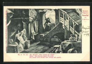 AK Bayreuth, Parsifal, II. Act, Frau in Gewand und Mann an Fenster, He! Kundry! Wie? Schon am Werk?, Richard Wagner