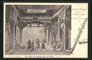 AK Bayreuth, Ring der Nibelungen, Die Halle der Gibichungen am Rhein, Richard Wagner