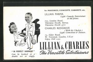 AK Musiker, Lillian & Charles am Klavier und mit Ukulele, The Versatile Entertainers