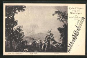 AK Bayreuth, Ring der Nibelungen, Walhall, Noten, Richard Wagner