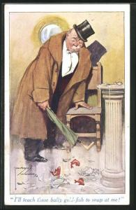 Künstler-AK Lawson Wood: betrunkener Herr mit Zylinder hat Goldfischglas zerbrochen, I`ll teach those fish to snap at me