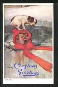 Künstler-AK Lawson Wood: Junge ist ins Eis eingebrochen und schreit mit Hund auf dem Kopf, Christmas greetings