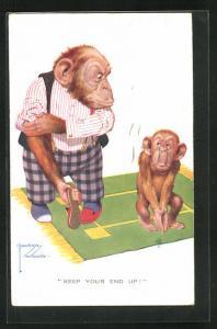 Künstler-AK Lawson Wood: Affe in Kleidung hält Hausschuh in Hand vor kleinem Affen, Keep your end up