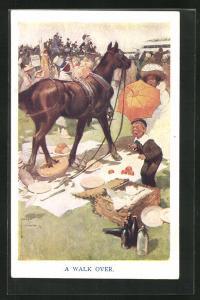 Künstler-AK Lawson Wood: Pferd trampelt durch ein Picknick, A walk over