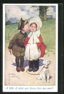 Künstler-AK Lawson Wood: kleiner Soldat küsst Mädchen mit Muff und Hund, A little of what you fancy does you good