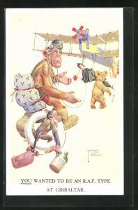 Künstler-AK Lawson Wood: Affen, Bär und Schwein besteigen Flugzeug, you wanted to be an R.A.F. Type at Gibraltar