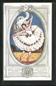 Passepartout-AK Ballett, Tänzerin mit roten Ballettschuhen
