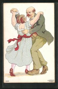 Künstler-AK Tanz, älterer Mann tanzt mit Frau