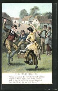 AK Volkstanz, The ould irish Jig, Mann und Frau tanzen zu Flötenspiel