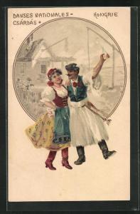 AK Volkstanz, Hongrie, ungarisches Paar in Tracht, Csardas