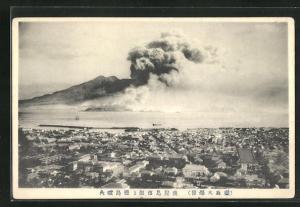 AK Ausbruch des Sakurujima 1914, Vulkan
