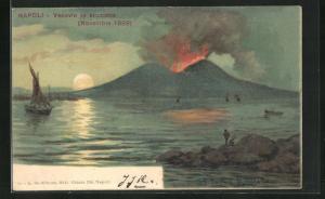 Lithographie Napoli / Neapel, Vesuvio in eruzione, Novembre 1899, Vulkan