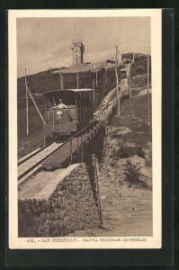 AK San Sebastian, Tranvia Funiculaire de Ygueldo, Bergbahn