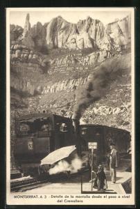 AK Montserrat, Detalle de la montana desde el paso nivel del Cremallera, Bergbahn