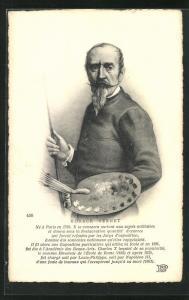 AK Portrait des Malers Horace Vernet mit Farbpalette