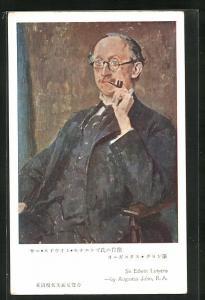 AK Portrait des Malers Edwin Lutyens mit Pfeife