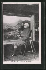 AK Maler Benjamin W. Leader vor seinem Gemälde