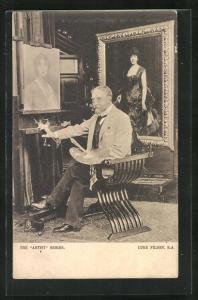 AK Maler Luke Fildes vor einem Portrait
