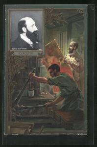 Präge-AK Portrait Maler Cliche Henri Manuel