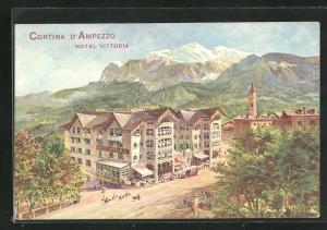 Künstler-AK Cortina d`Ampezzo, Hotel Vittoria