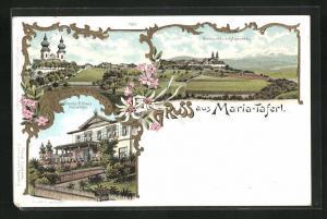 Lithographie Maria-Taferl, Nordansicht mit Alpenkette, Veranda A. Klaus, Teilansicht