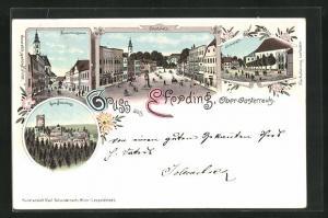 Lithographie Eferding, Starhemberggasse, Hauptplatz, Kirchenplatz