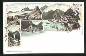 Lithographie Hallstatt, Gosaumühle, Dachstein mit Simonyhütte, Waldbachstrub