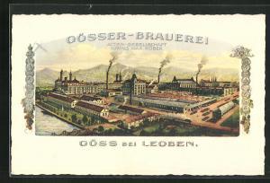 Künstler-AK Göss, Gösser-Brauerei Actien-Gesellschaft