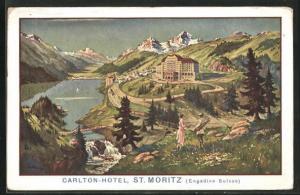 Künstler-AK St. Moritz, Carton-Hotel