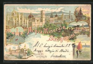 Lithographie San Gemini, Ortsansicht, Ansichten von Rom, Palermo und Pisa