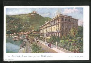 Lithographie Como, Le Plinius Grand Hotel au Lac