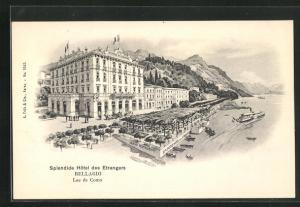 Künstler-AK Bellagio, Splendide Hotel des Etrangeres, lac de Como