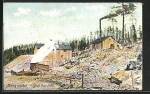 AK New Liskeard, Mining in Cobalt, Holzhäuser mit gerodeten Bäumen