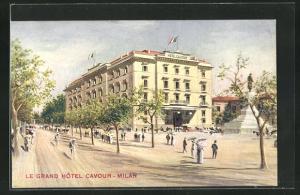 AK Milan, Grand Hotel Cavour mit Denkmal