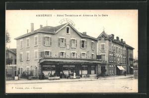 AK Amberieu, Hotel Terminus et Avenue de la Gare