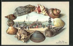 Präge-AK Southend-on-Sea, The Pier, Gerahmt von Muscheln