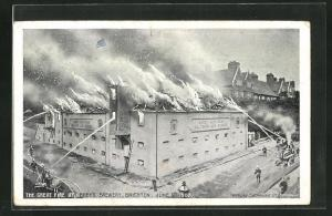 AK Brighton, The Great Fire at Abbey`s Brewery June 1907