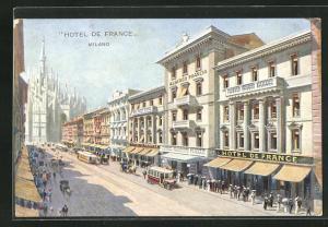 AK Milano, Hotel de France und Blick zum Dom