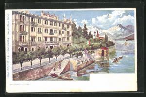 Künstler-AK Cadenabbia, Hotel Belle Ile, Lac de Come