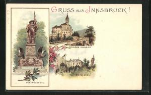 Lithographie Innsbruck, Schloss Ambras, Hofer-Denkmal