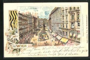 Lithographie Wien, Graben aus der Vogelschau