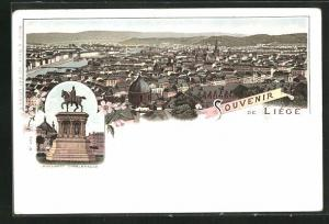 Lithographie Liége, Monument Charlemagne, Blick über die Stadt