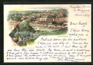Lithographie Ventnor, Old Church Bonchurch, Ortspartie an der Küste