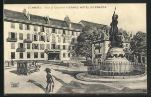 AK Chambery, Place du Centenaire et Grand Hotel de France