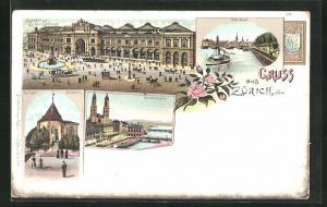 Lithographie Zürich, Bahnhof und Escher-Denkmal, Zwingli-Denkmal, Grossmünster