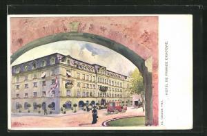 Künstler-AK Krakau, Hotel de France Cracovie