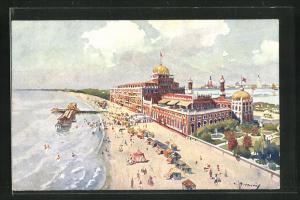 Künstler-AK Lido di Venezia, Grand Hotel Excelsior visto dal mare