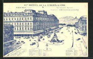 Künstler-AK Valence, Grand Hotel de la Croix d`Or
