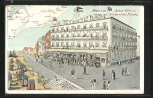 Künstler-AK Heyst sur Mer, Grand Hotel de Bruges et des Flandres, Landkarte mit Paris, Lille und Liege
