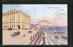 Künstler-AK Naples, Excelsior Hotel